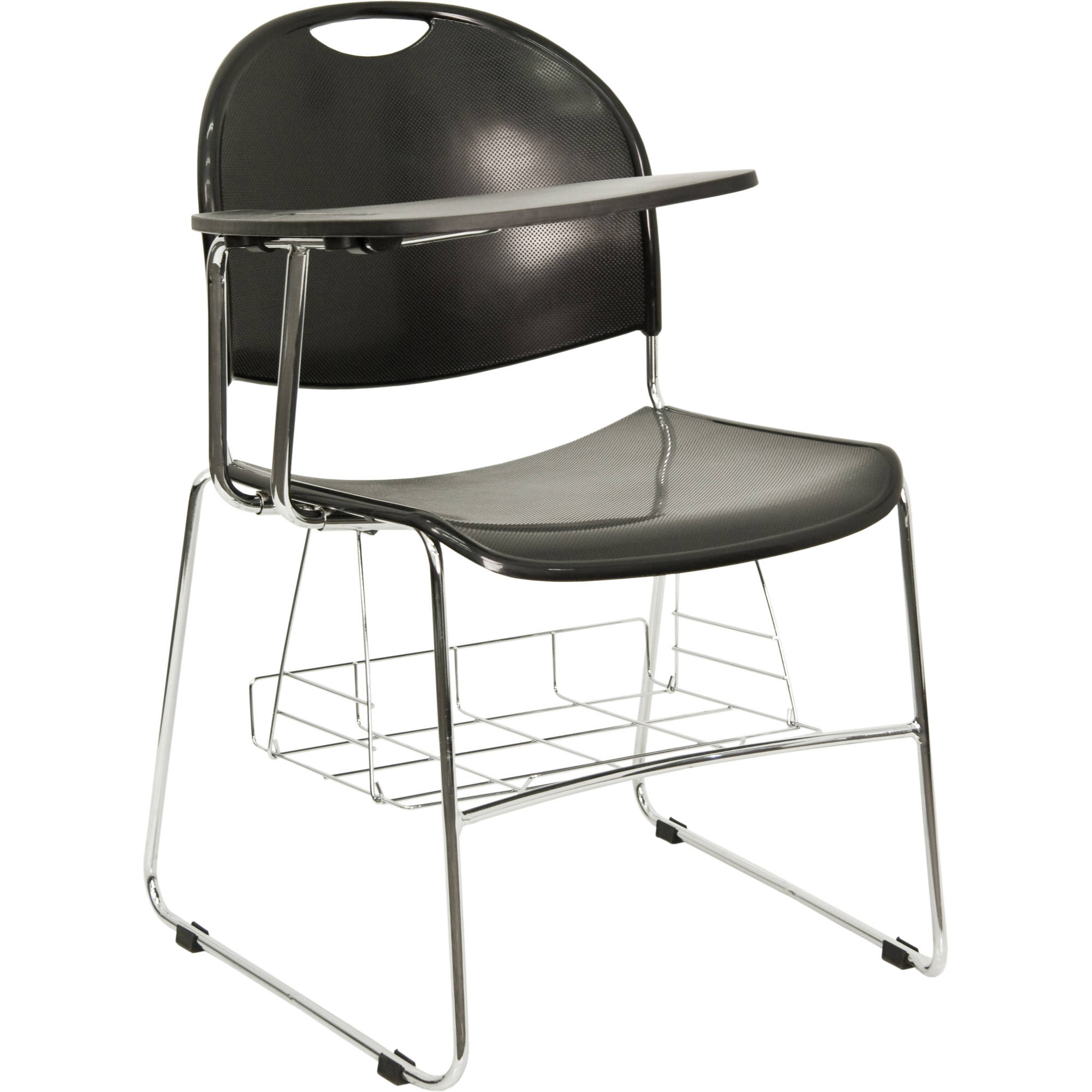 Flash Furniture Plastic Chair with Right-Handed Flip-Up Tablet Arm and Chrome Frame, Black