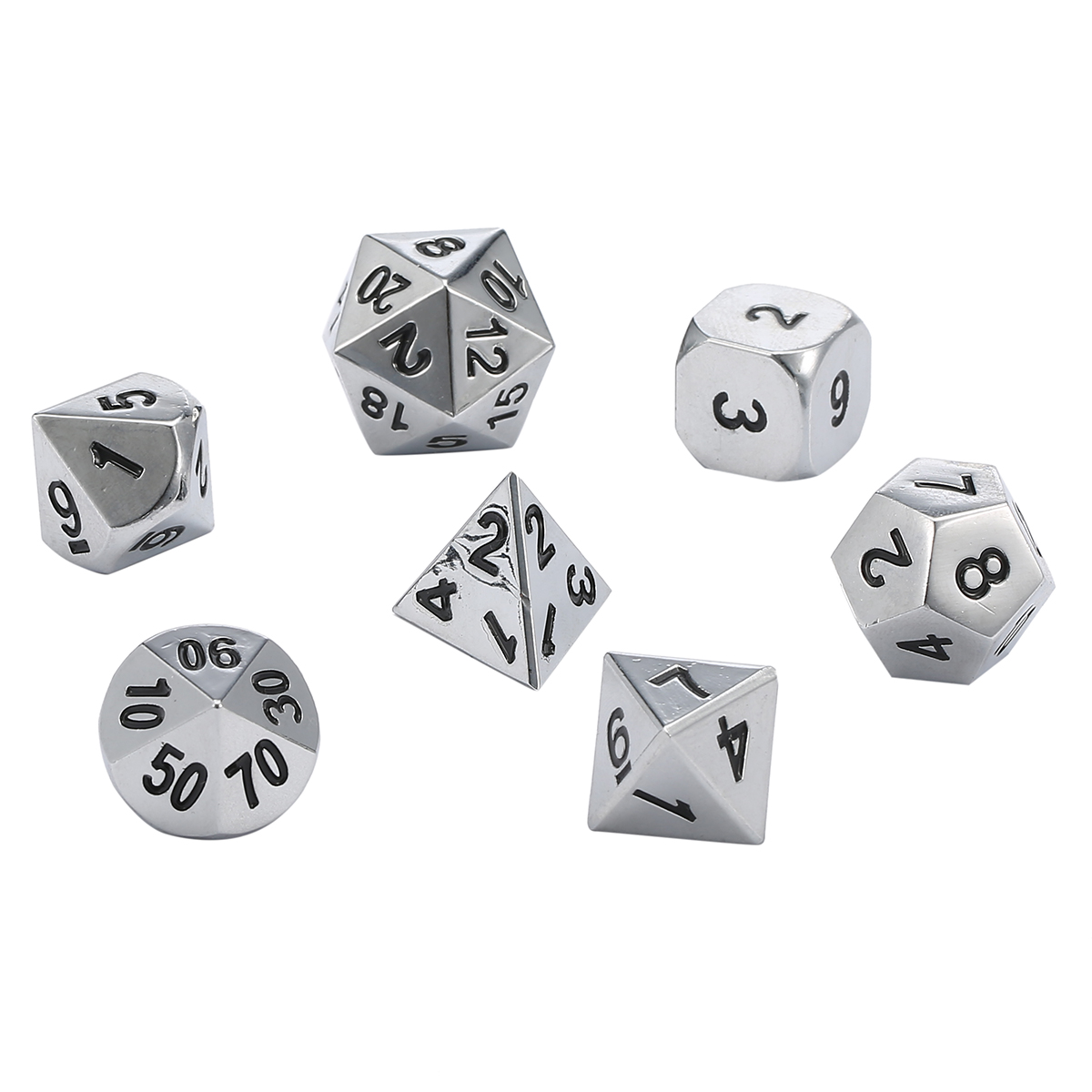 Antique Metal Polyhedral Dice w Bag DND RPG MTG Role Playing Board Game  Dice 7pcs Set
