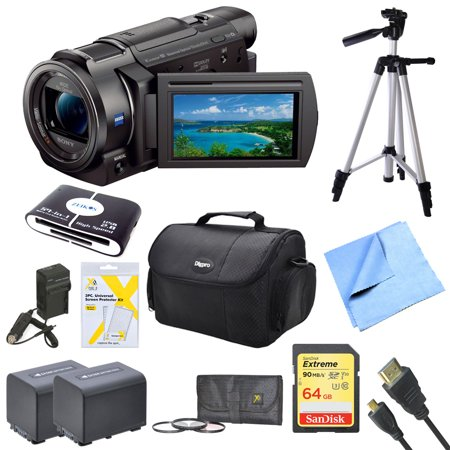 Sony Fdrax33 Fdr Ax33 Fdr Ax33 B Ax33 4K Hd Video Recording Handycam Camcorder Bundle With 2 High Capacity Spare Batteries  64Gb Sdxc Memory Card  Full Sized Tripod  Deluxe Case  Ac Dc Charger   More
