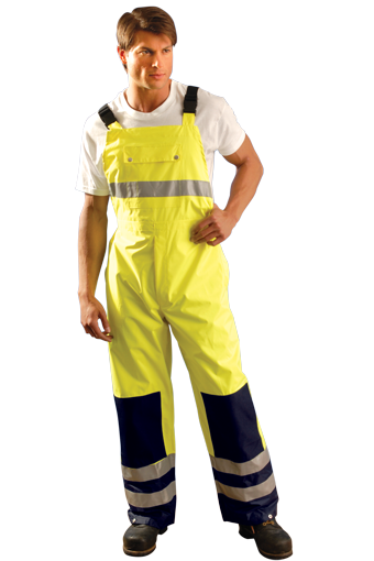 Large Hi-Viz Yellow With Blue 48'' 100% Polyester 150 Denier Oxford With PU Coating Breathable Rain Bib Pants With Elastic Suspenders With Release Buckle