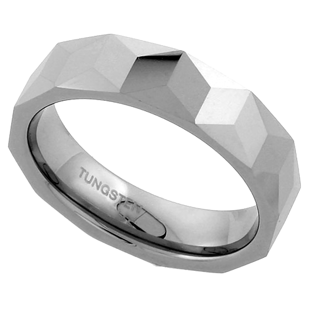 6mm Tungsten 900 Wedding Ring Faceted Band Triangular Prism Patterns Comfort fit, sizes 7 - 13