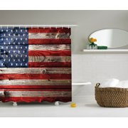 Rustic Decor American Usa Flag Shower Curtain Set, Fourth Of July Independence Day Weathered Retro Wood Wall Looking Country Emblem, Bathroom Accessories, 69W X 70L Inches, By Ambesonne