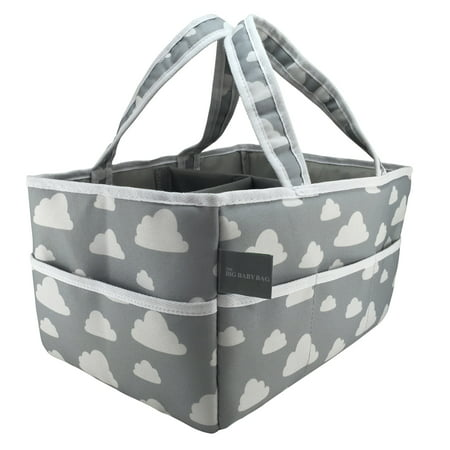 Diaper Caddy (Gray Cloud Design) with Free Changing Pad Liner! Large Versatile Organizing Tote for Nursery/Bedside Storage, Toys, Diapers, Baby Products, etc.. -Suncoastbaby