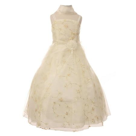 Cinderella Couture Little Girls Ivory Flower Sequin Scarf Pageant Dress 2-6 (Cinderella Girls Dresses)
