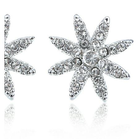Petite Dainty Swarovski Crystal Elements Elegant Flower Fashion Button Earrings