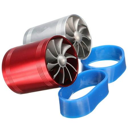 - Universal Car Turbo Supercharger Air Intake Dual Fan Turbonator Fuel Gas Saver Aluminum