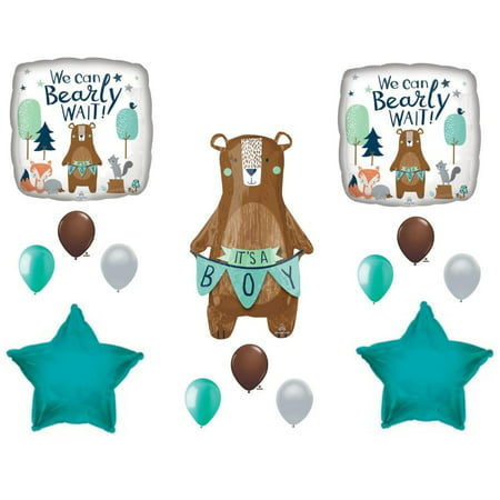 NEW!  We Can Bearly Wait Baby It's A Boy Shower Balloons Bear - Bear Balloon