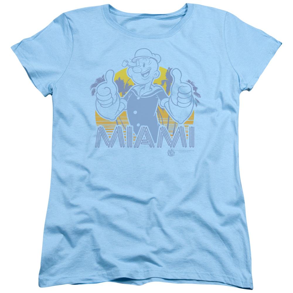 Popeye Miami S S Women's Tee Light Blue Pye714 by Trevco