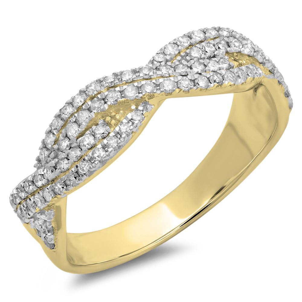 0.45 Carat (ctw) 18K Yellow Gold Round Cut White Diamond Ladies Bridal Stackable Swirl Anniversary Wedding Band 1/2 CT