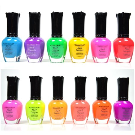 KLEANCOLOR NEON COLORS 12 FULL COLLETION SET NAIL POLISH (Best Place To Store Nail Polish)