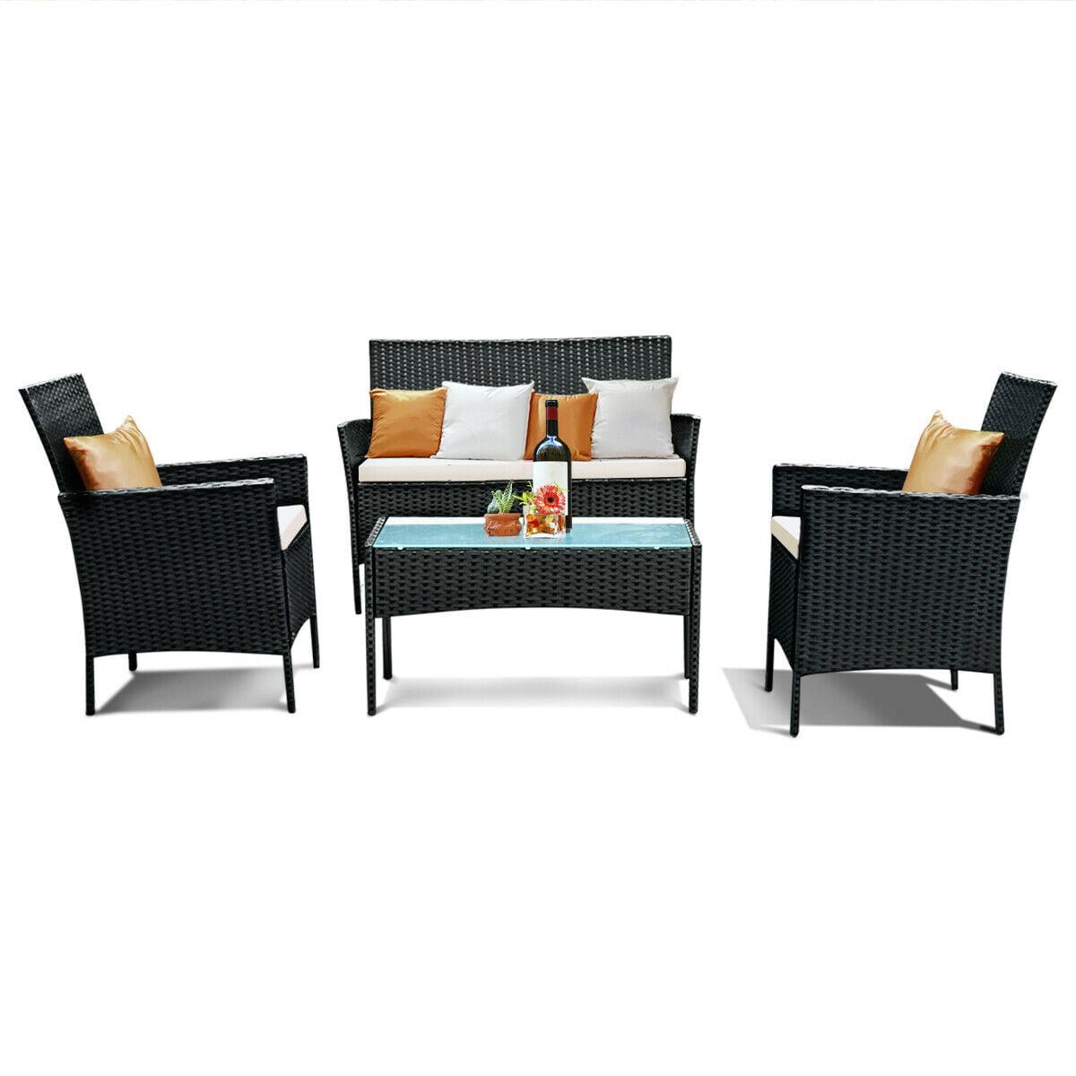 4pcs Patio Rattan Sofa Set Loveseat Cushioned Furniture Outdoor Garden - image 9 of 9