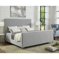 Alex Grey Linen Platform Bed Frame - Queen Size - Upholstered - Tufted
