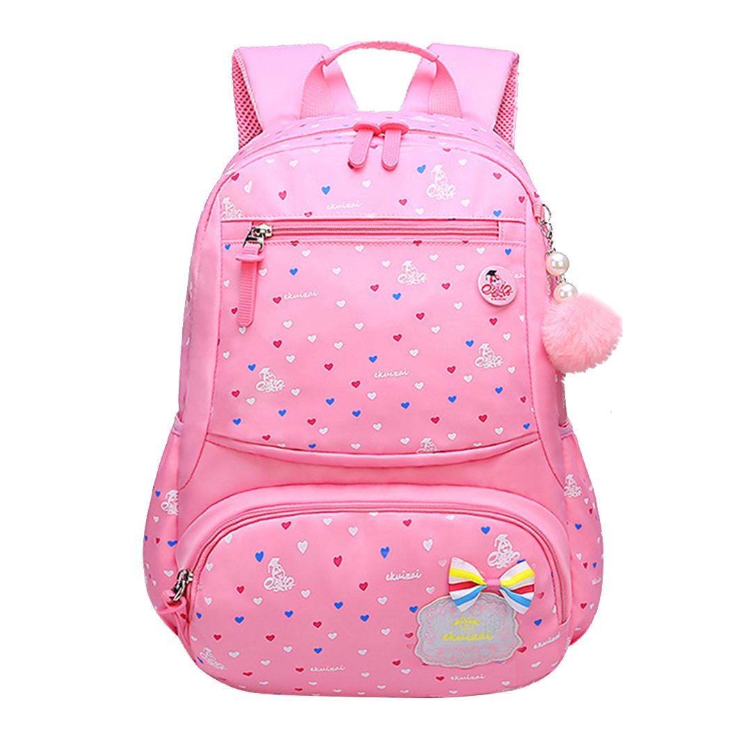 School Backpack, Coofit Large Capacity Nylon Cute Backpack Bookbag Travel Backpack with Hanging Ornament for Students Girls Boys Kids