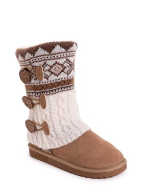 Muk Luks Cheryl Faux Fur Lined Side Button Pattern Knit Boot (Women's)