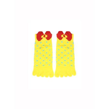 Toe Bowknot Low Cut - Women's Stretchy Cuffs Low Cut Dots Bowknot Pattern Toe Socks