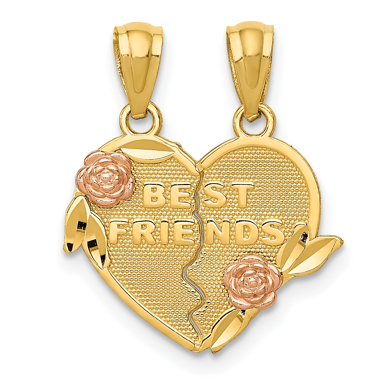 16mm Silver Yellow Plated Best Friends In Heart Charm