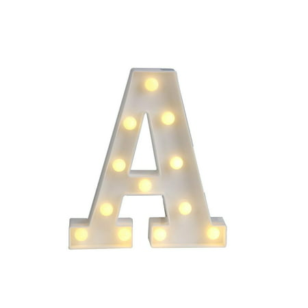 Magik Light up Letter LED Alphabet Number Symbol Plastic Battery Operated Party Sign Wedding Festival Stand Decoration (Letter A) - Simple Wedding Decorations