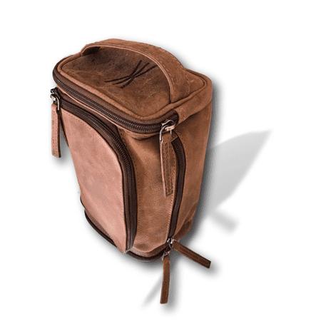 Handmade Leather Toiletry Bag | Top-Handle Travel Tote and Multi-Purpose Dopp Bag | Kauri (Handmade Leather Bags)