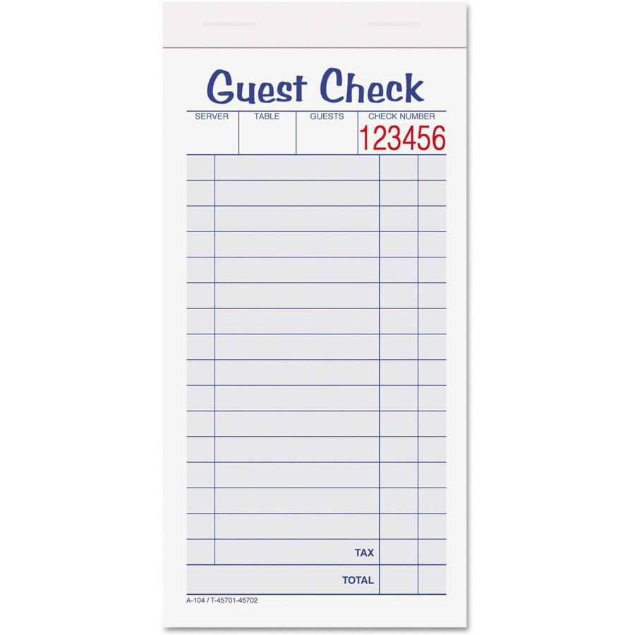 """Adams Guest Check Unit Set, Carbonless Duplicate, 6-7/8"""" x 3-3/8"""", 50 Forms, 10 per Pack"""
