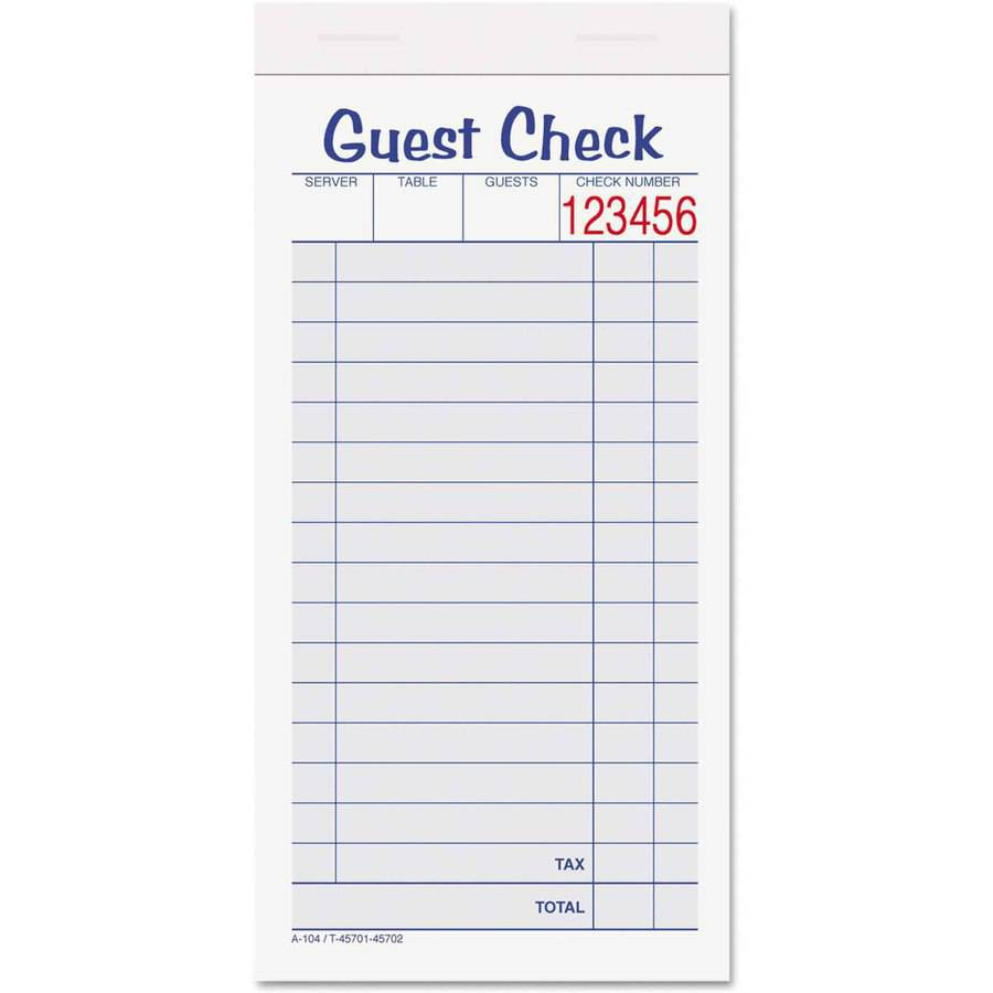 "Adams Guest Check Unit Set, Carbonless Duplicate, 6-7/8"" x 3-3/8"", 50 Forms, 10 per Pack"