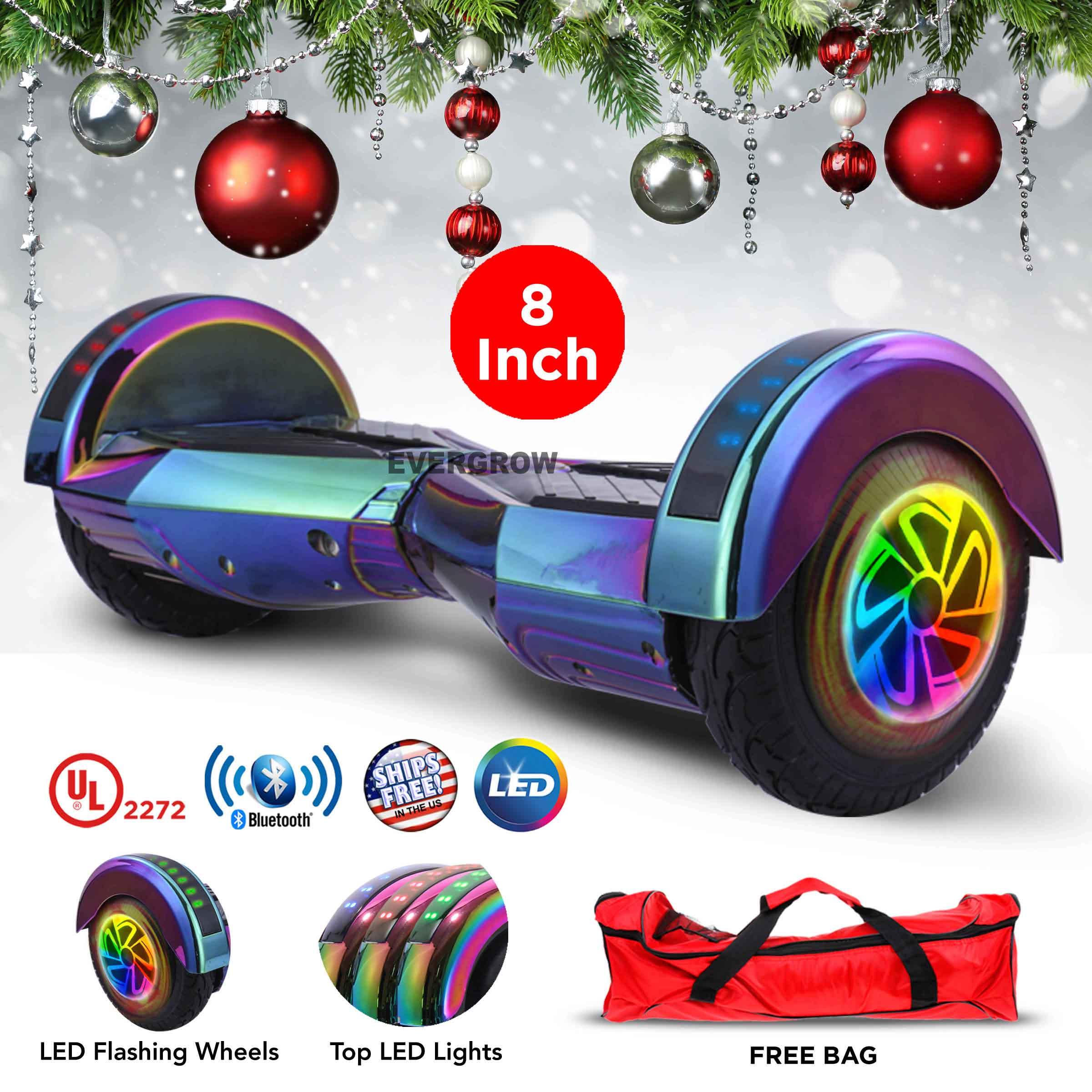 8 inch Chrome Rainbow Hoverboard Bluetooth Smart Self Balancing Electric Board (WHEELS-WC8-RAINBOW-CHROME)