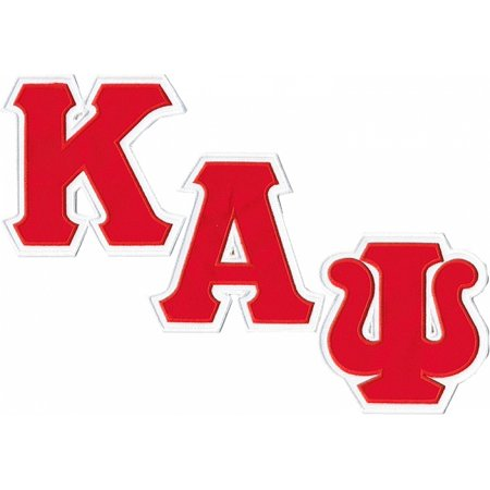 Kappa Alpha Letter (Kappa Alpha Psi Twill Letter Iron-On Patch Set [White/Red - 4