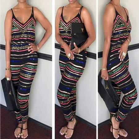 Women Sexy V Neck Party Jumpsuit Backless Playsuit Bodycon Romper Trouser Clubwear Spaghetti Strap Wide Legs - Romper Adult
