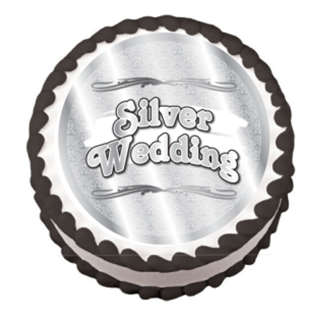 Silver Wedding Edible Frosting Sheet Photo Image Cake