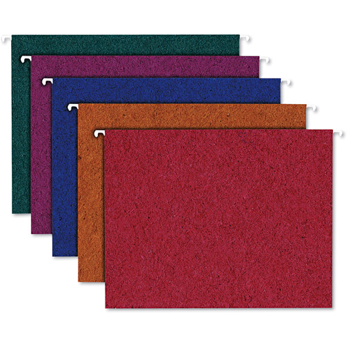 Ampad Envirotec 100% Recycled Colored Hanging File Folders, Letter, Assorted, 20pk