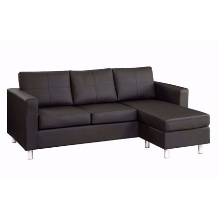Modern reversible small space configurable bonded leather for Contemporary leather sectional sofas for small spaces