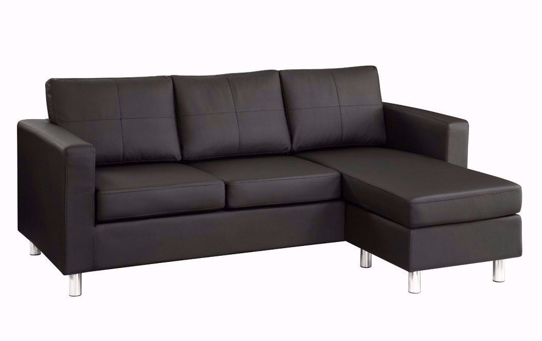 Modern Reversible Small Space Configurable Bonded Leather Sectional Sofa