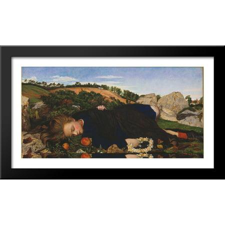 Robin Art Deco Print (Robin of Modern Times 40x22 Large Black Wood Framed Print Art by John Roddam Spencer)
