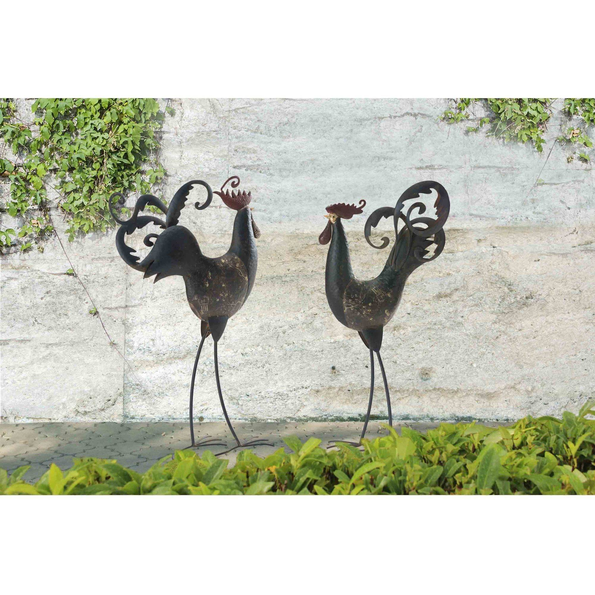 """Sunjoy 110309060 Two Tall Rooster and Hen Iron Garden Statues, Set of 2, Rustic, 32""""... by Garden Statues"""