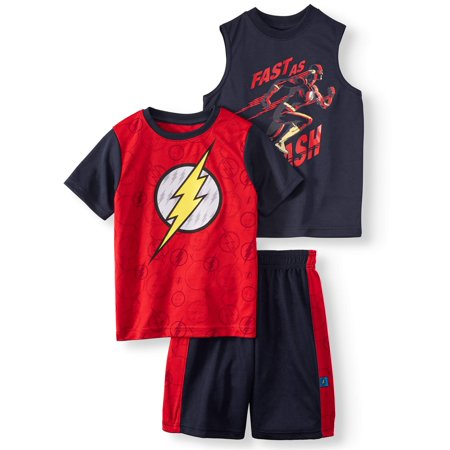 Performance Tee, Muscle Tank, and Shorts, 3-Piece Outfit Set (Little - Flash Outfit