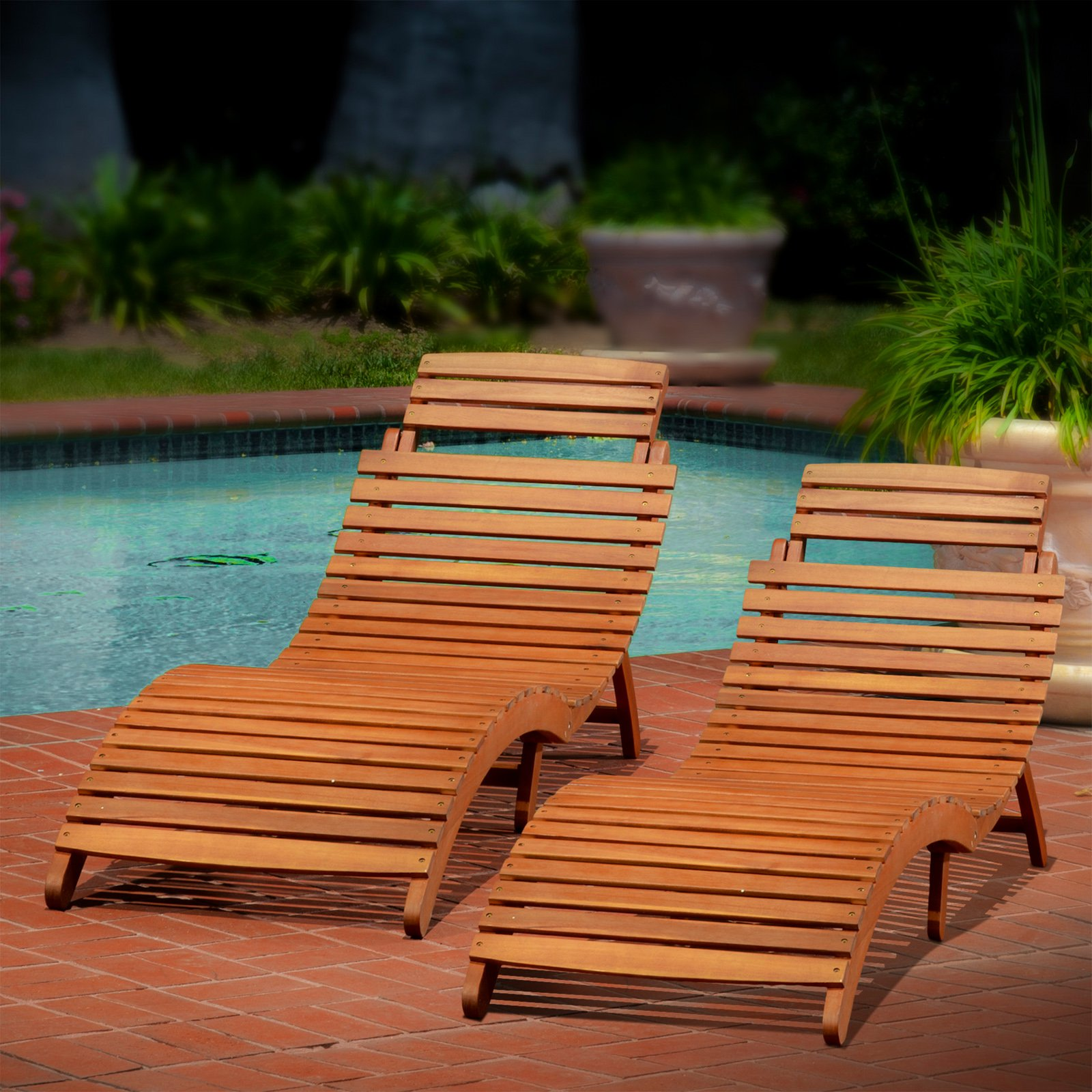 Molokini Wood Outdoor Chaise Lounge—Set of 2