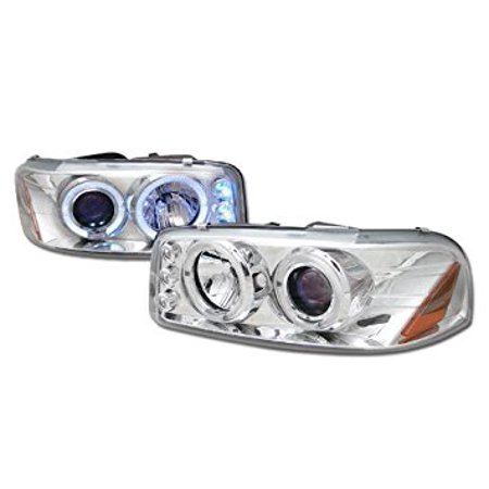 Chrome Led Halo Rim Projector Head Lights Gmc Sierra Yukon