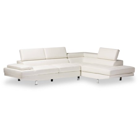 Baxton Studio Selma White Leather Modern Sectional Sofa
