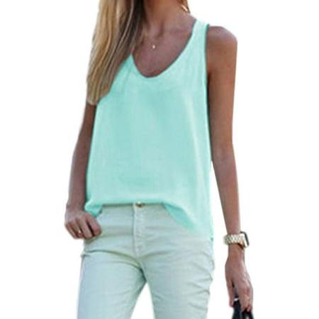 Women Chiffon Sleeveless Vest Blouse Casual  Loose Tank Tops Shirt Summer Baggy Breezy T-Shirt