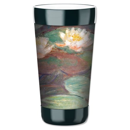 Mugzie 16-Ounce Tumbler Drink Cup with Removable Insulated Wetsuit Cover - Monet: Water Lilies (close up)