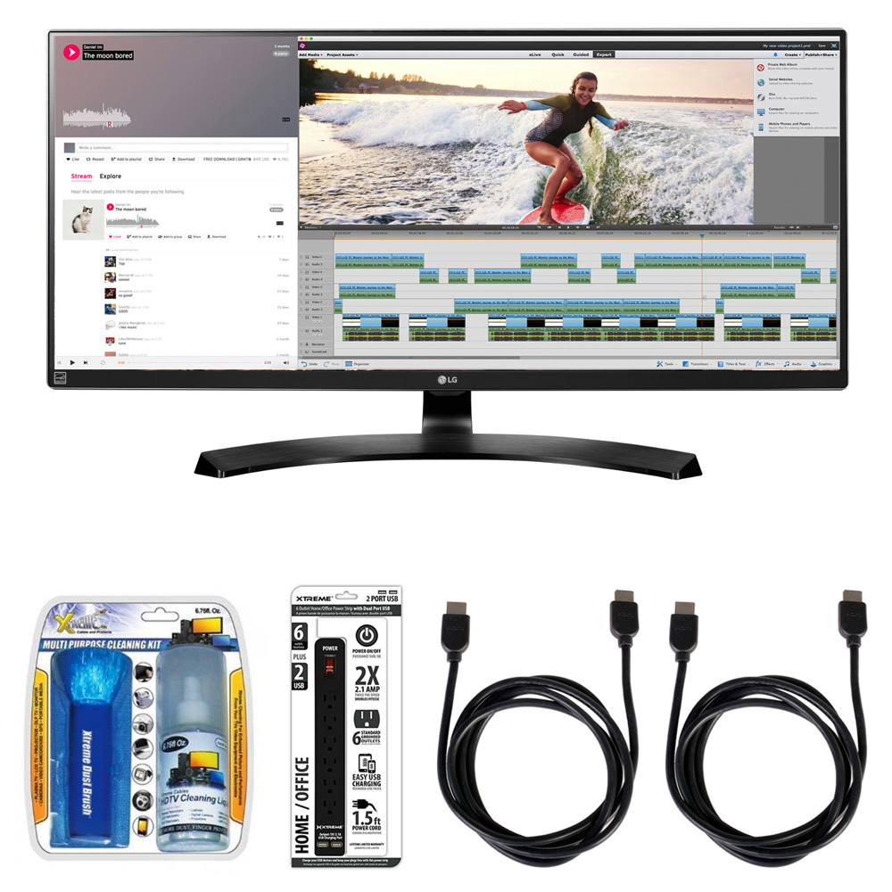 """LG 21:9 QHD IPS 34"""" Monitor (34UM88C) with Xtreme Performance TV/LCD Screen Cleaning Kit, Xtreme 6 Outlet Power Strip & 2x General Brand HDMI to HDMI Cable 6'"""