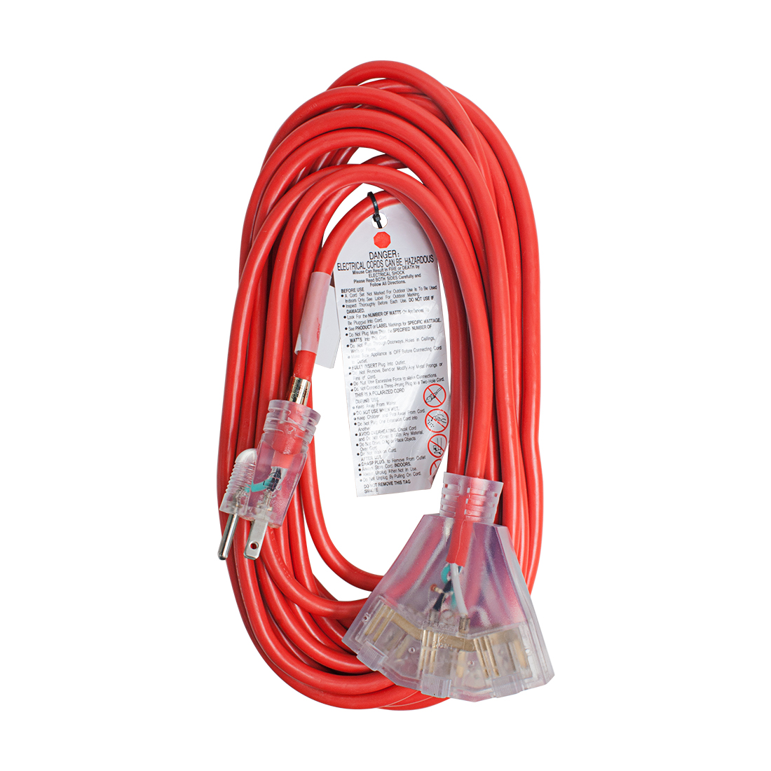 US Plug to 3 Outlets Lighted Power Extension Cord Cable 15A 14AWG SJTW 25Ft Red