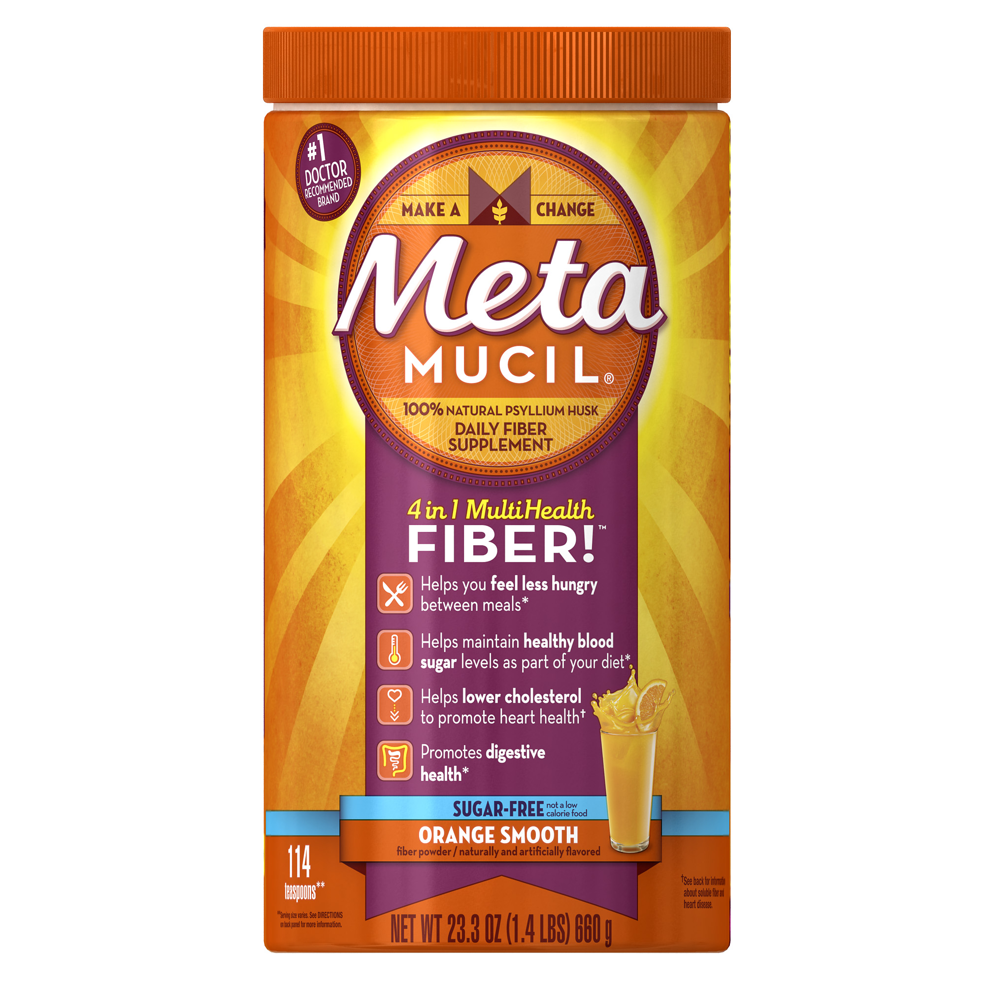 Metamucil Psyllium Fiber Supplement by Meta Orange Smooth Sugar Free Powder 23.3 oz 114 doses