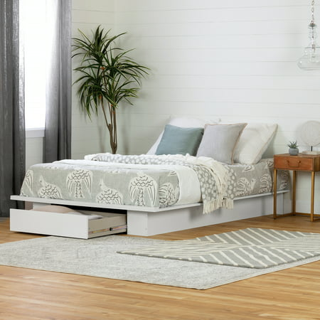 South Shore Full/Queen Holland Platform Bed with Drawer, White Solid Oak Queen Sleigh