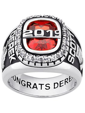 Personalized Men's Sterling Silver or 18kt Gold over Silver CZ Encrusted Top Class Ring