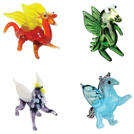 BrainStorm Looking Glass Miniature Glass Figurines, 4-Pack, Draco Dragon/Drew Happy Dragon/Grady Griffin/Peggy Pegasus