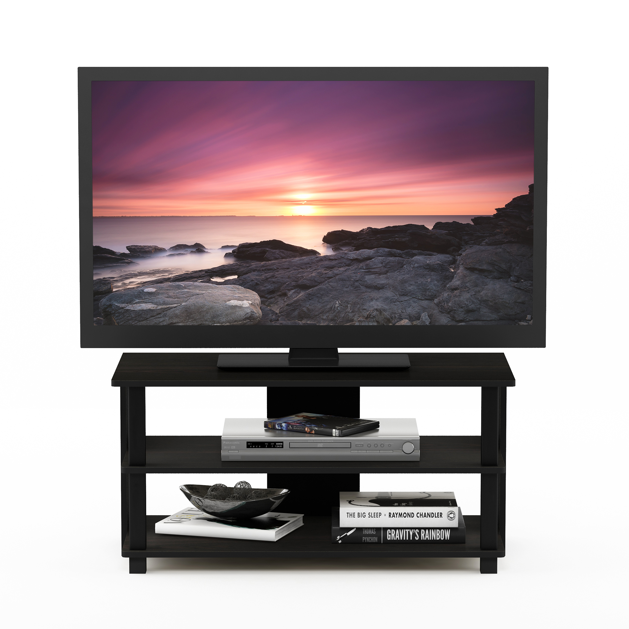 Furinno Sully 3-Tier TV Stand for TV up to 40, Espresso/Black, 17076EX/BK