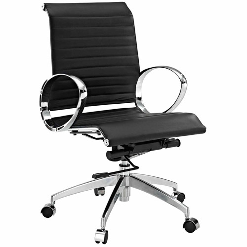 Modway Ribbed Mid-Back Chair - Black