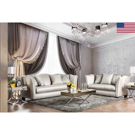 Formal Look Luxurious Sofa And Love-seat w/Pillows 2pc Set Silver Silky Fabric Nailhead Trim Living Room Furniture Couch USA ()