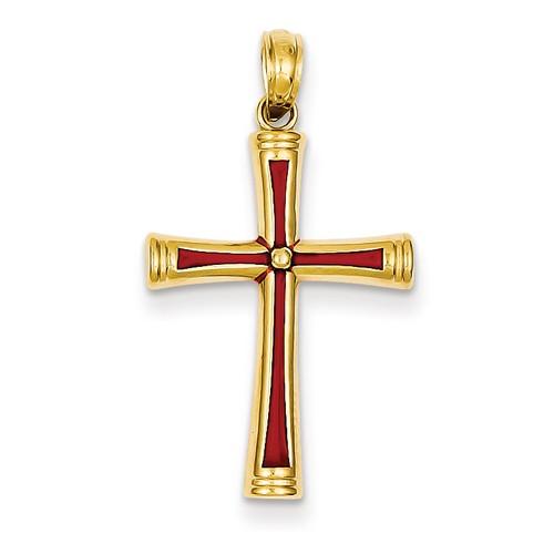 14k Yellow Gold Red Acrylic Latin Cross Pendant