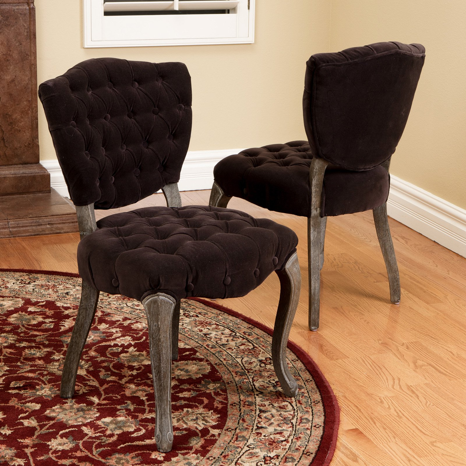 Bates Tufted Dark Chocolate Fabric Dining Chairs - 2 Pack